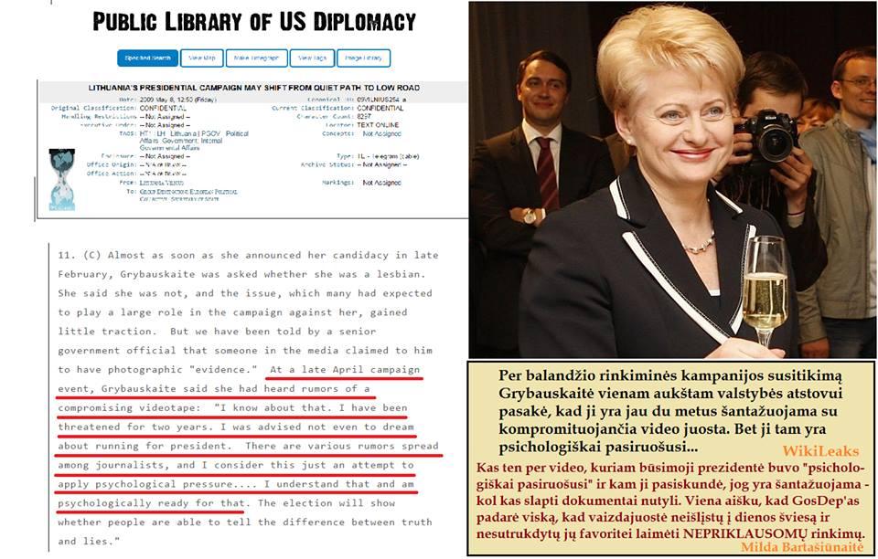 D.Grybauskaitė dvejus metus buvo šantažuojama ją kompromituojančia vaizdajuoste