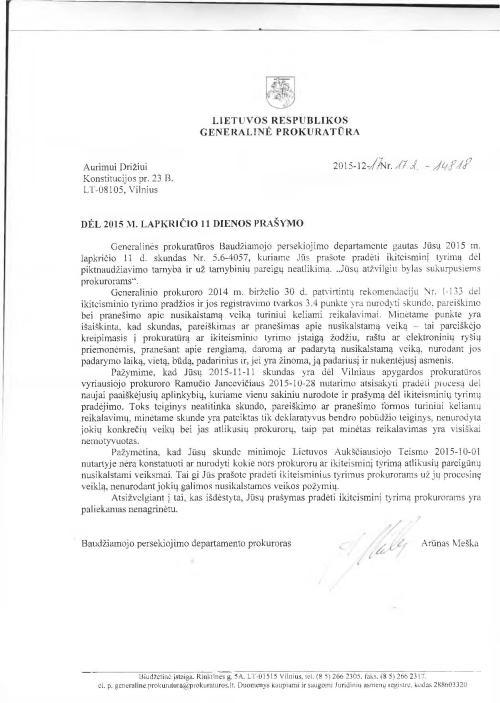 Generalinis niekšas Darius Raulušaitis atsistatydindamas atvirai spjauna ant Aukščiausiojo teismo