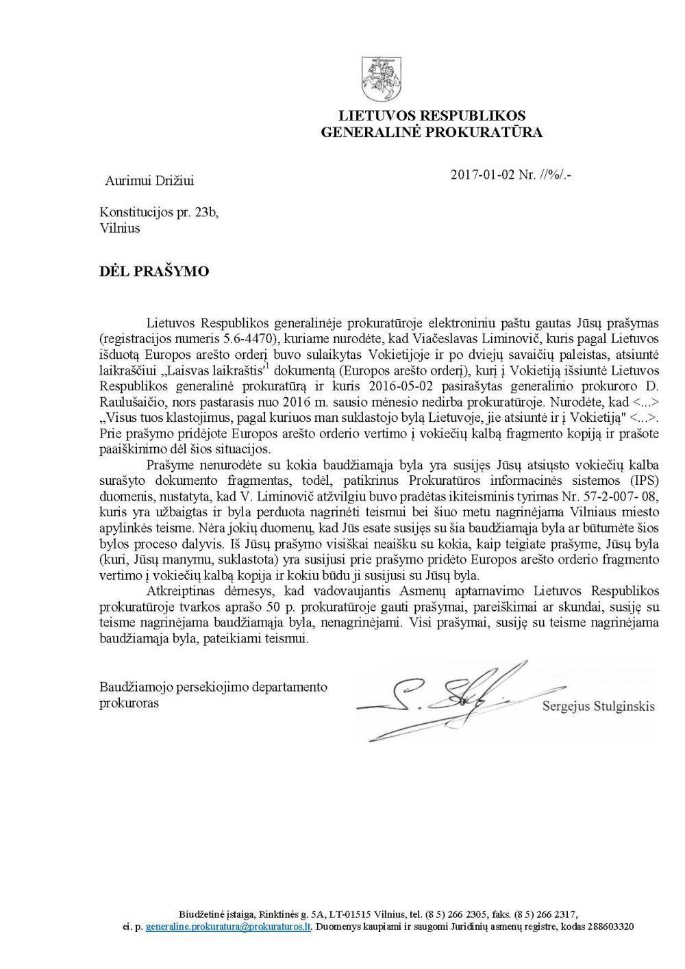 Generalinės prokuratūros atsakymas, kodėl ji klastoja net Vokietijos policijai siunčiamus tarptautinius arešto orderius