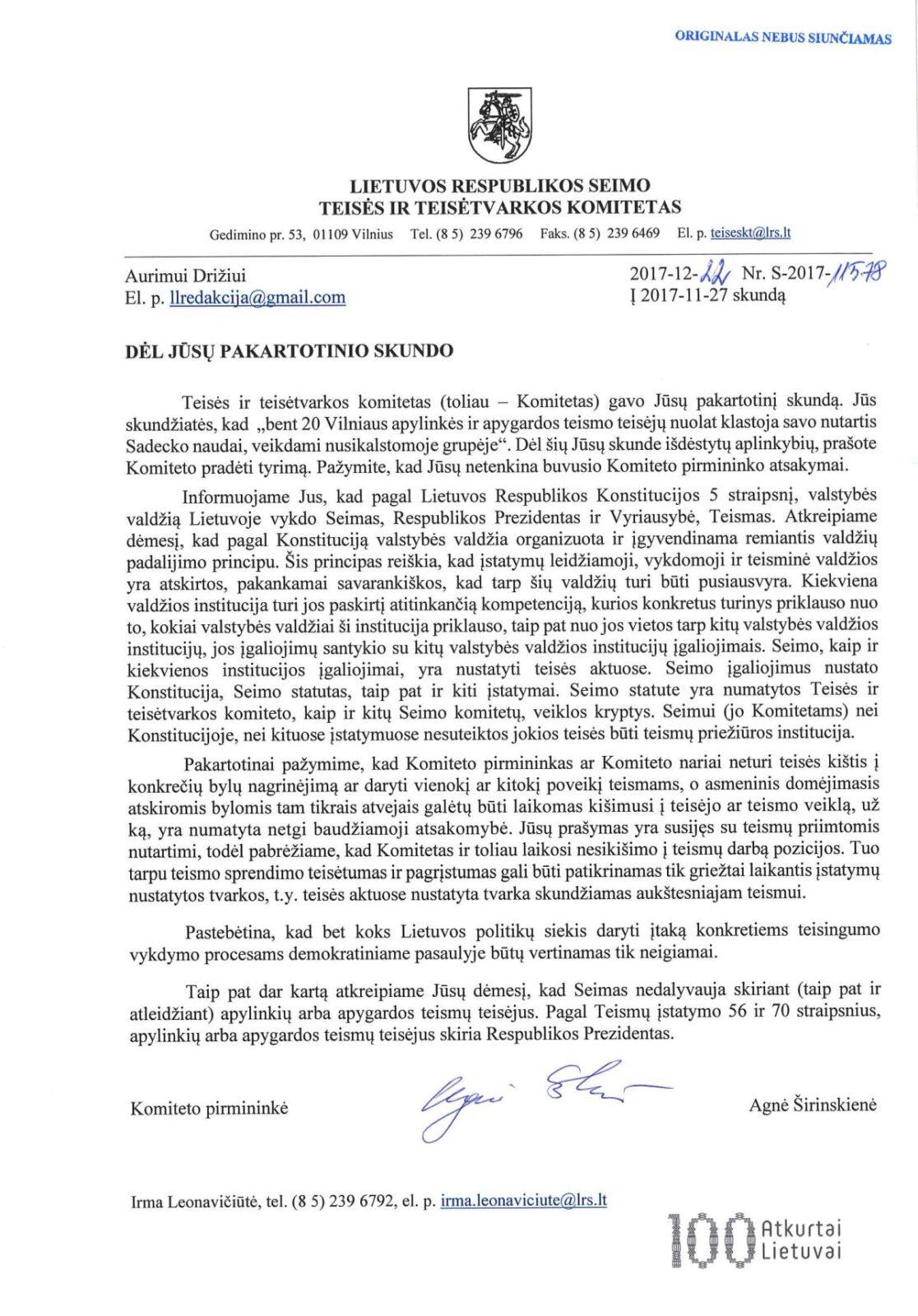 Ką dėl masinės korupcijos Vilniaus apylinkės ir apygardos teismuose mano naujoji Teisės ir teisėtvarkos komiteto pirmininkė A. Širinskienė?