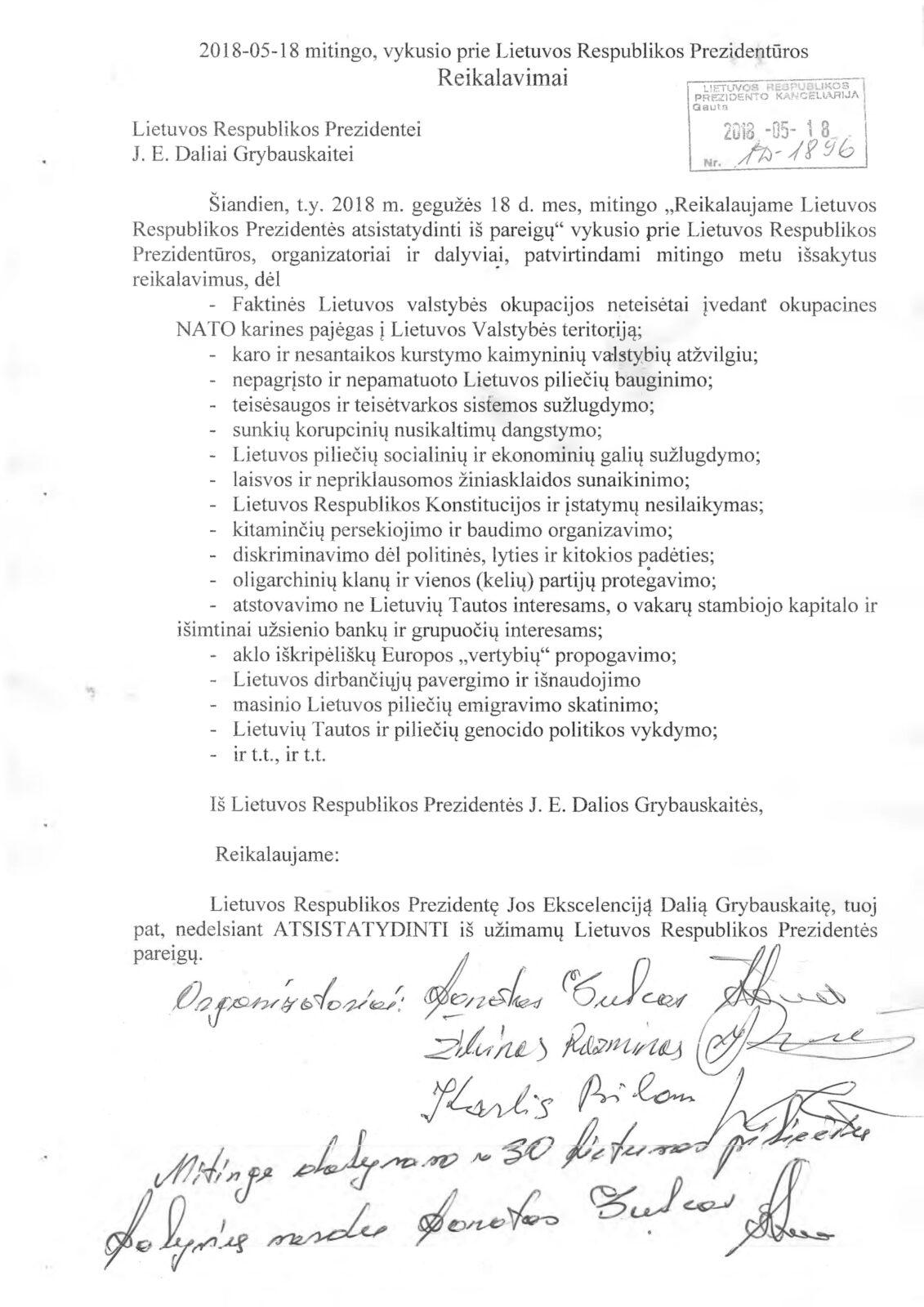 Žmonės reikalauja atstatydinti Dalią Grybauskaitę