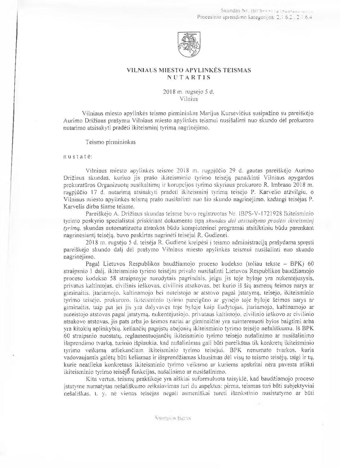 Teisėjo Petro Karvelio įtariamus nusikaltimus tirs ne Vilniaus apylinkės teismas
