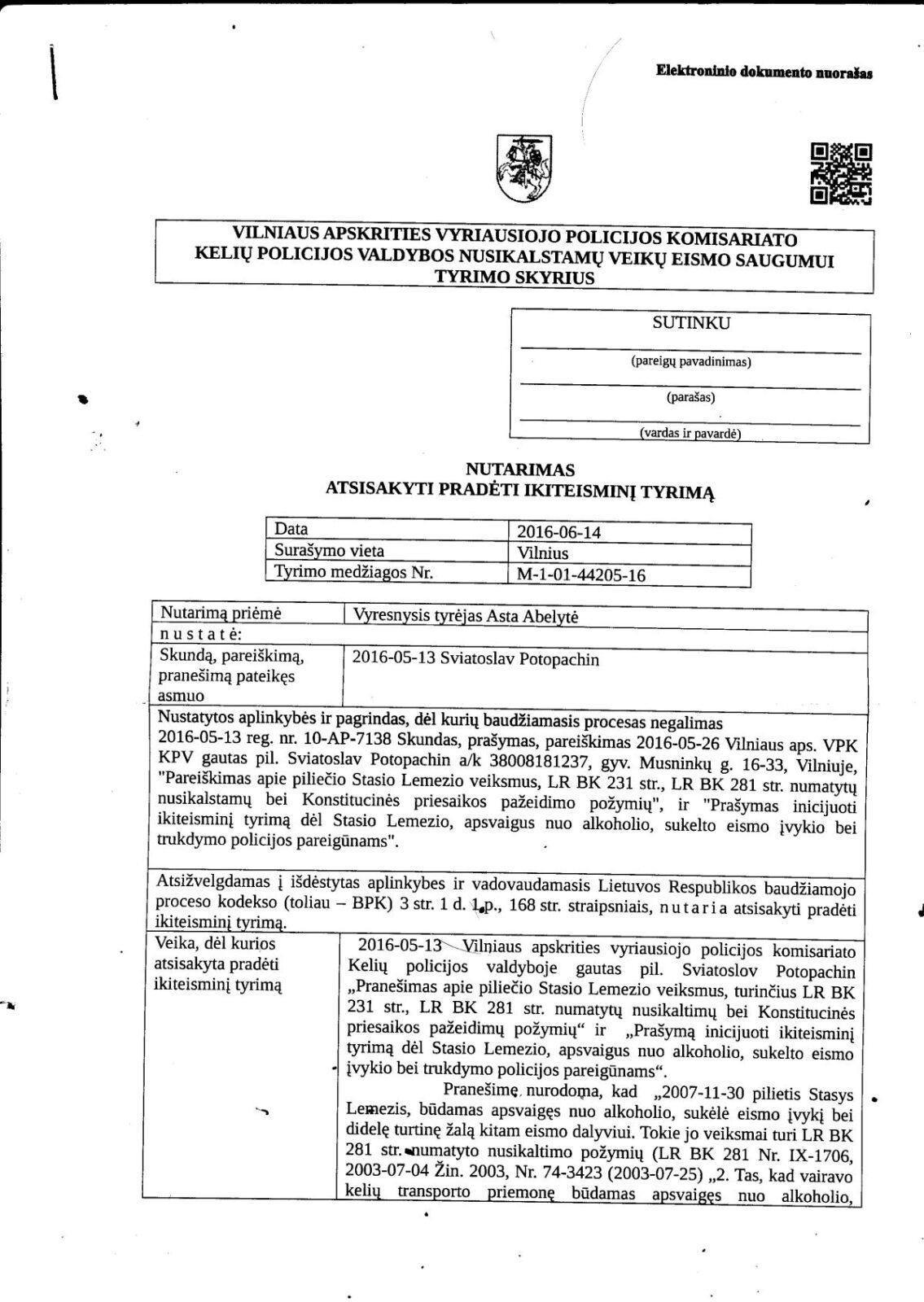 Kodėl Vilniaus apygardos teismo pirmininkas Stasys Lemežis negali negerti?