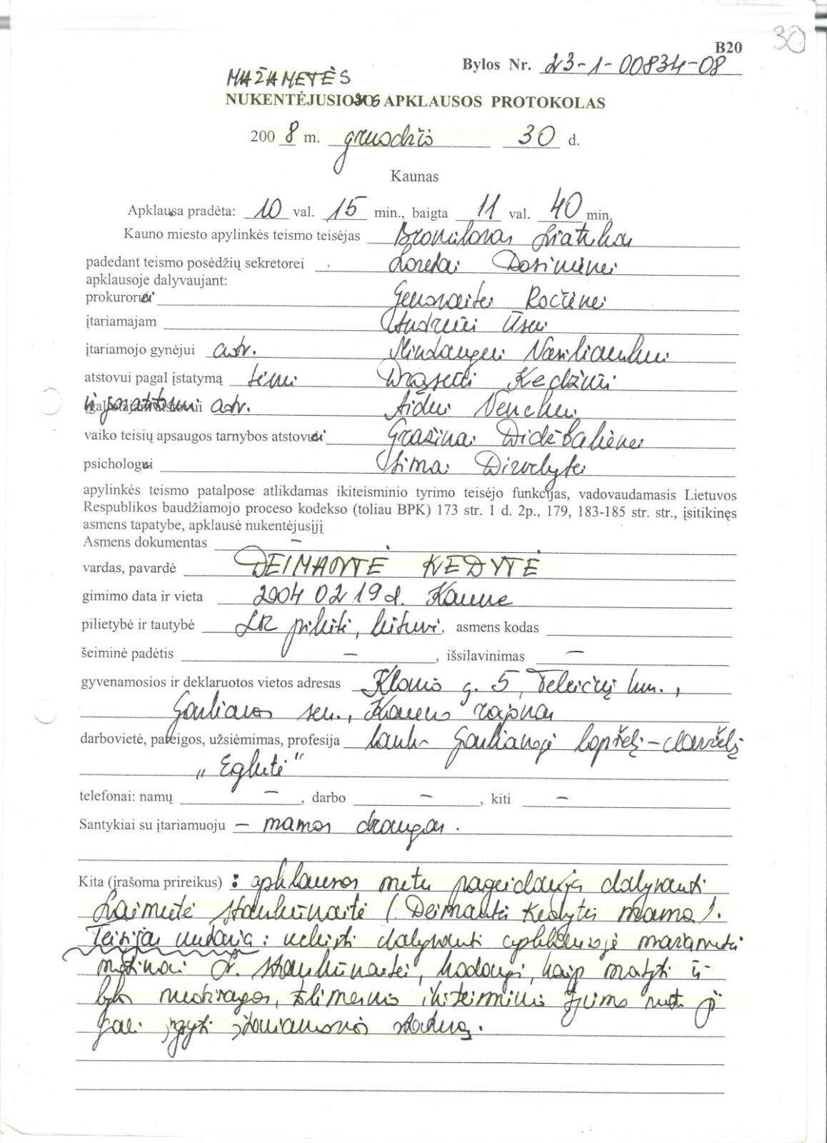 Nuo pedofilų nukentėjusios mažametės Deimantės Kedytės apklausos teisme protokolas