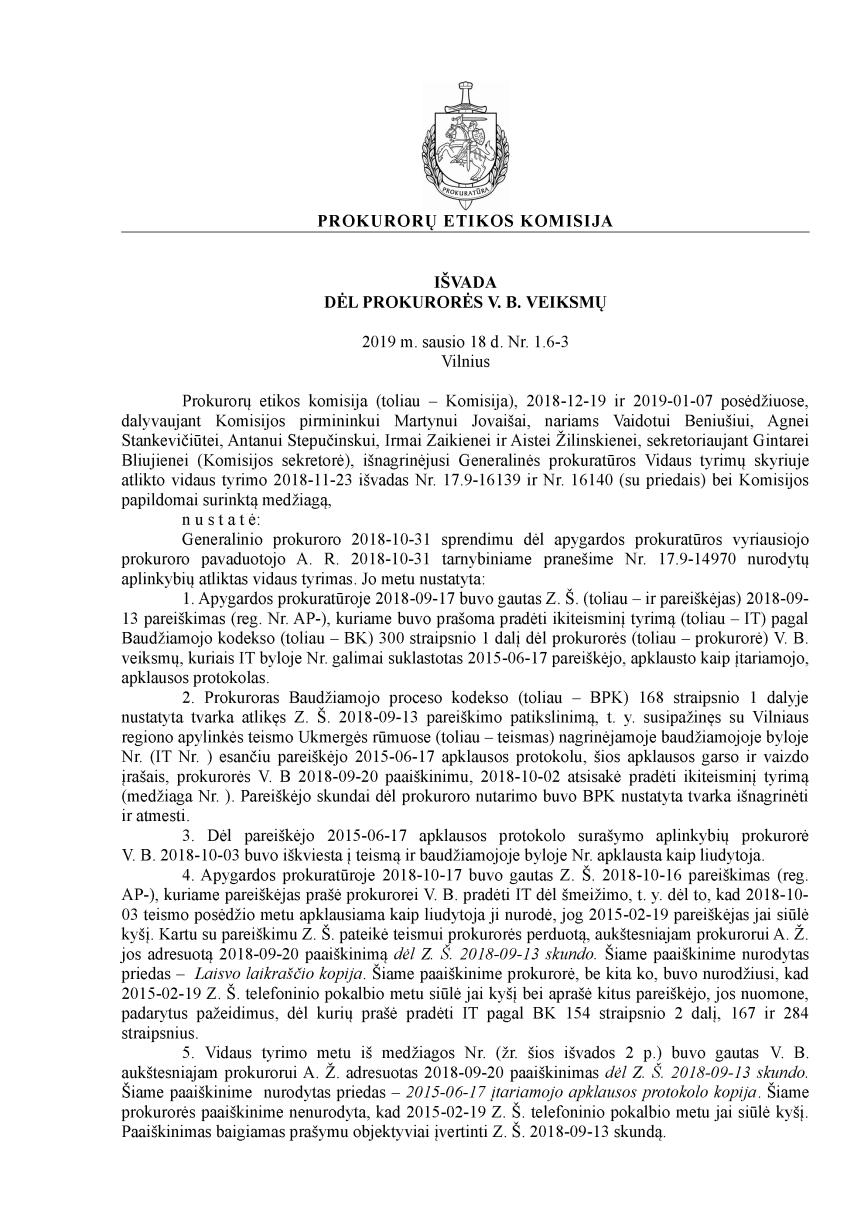 """Generalinis prokuroras Evaldas Pašilis """"užtrumpino"""" prokurorę Vidą Bracevičienę"""