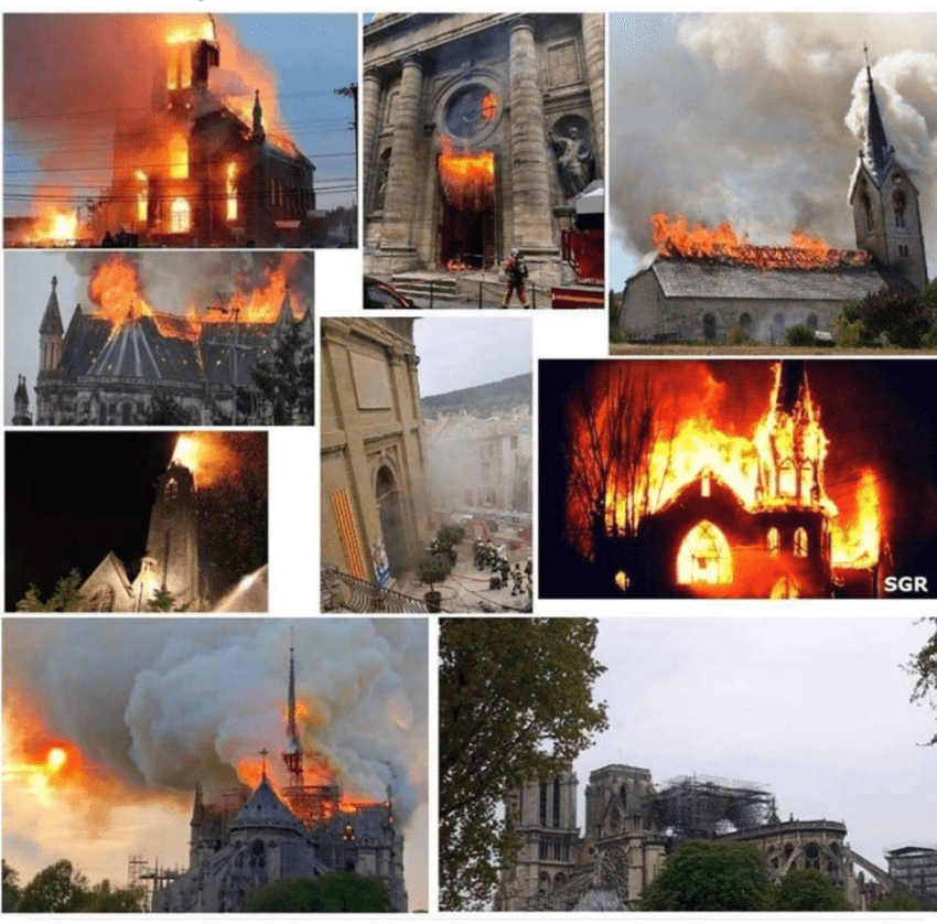 Kamera užregistravo, kad nežinomas žmogus vaikšto ant Paryžiaus katedros stogo prieš pasirodant ugniai…
