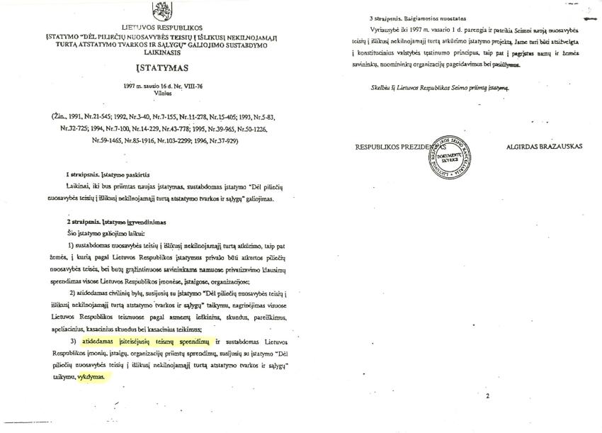 Opiausia teisinė problema posovietinėje Lietuvoje yra 29 metus vykdomas iki 30 ha ploto teisėtų žemės savininkų nuosavybės teise valdytų žemės valdų išgrobstymas