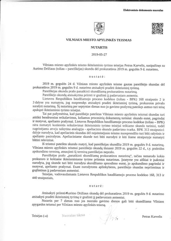 Teismas : prezidento G.Nausėdos užsakytas ir STT atliktas tyrimas tėra prielaida