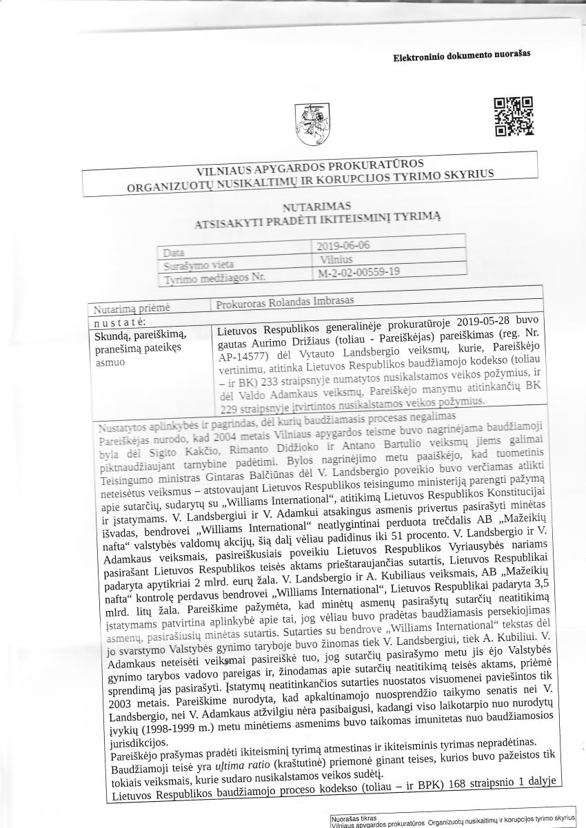 """Prokuratūra : """"Trūksta objektyvių duomenų įrodyti Vytauto Landsbergio ir Valdo Adamkaus sunkius nusikaltimus privatizuojant """"Mažeikių naftą"""""""