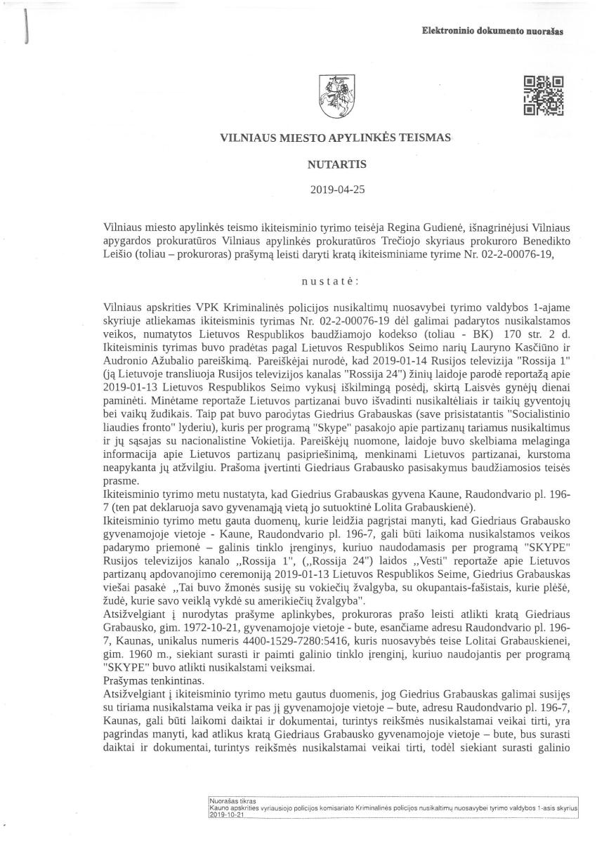 Krata pas Giedrių Grabauską – pagal Kasčiūno pareiškimą dėl nuomonės apie holokausto vykdytojus