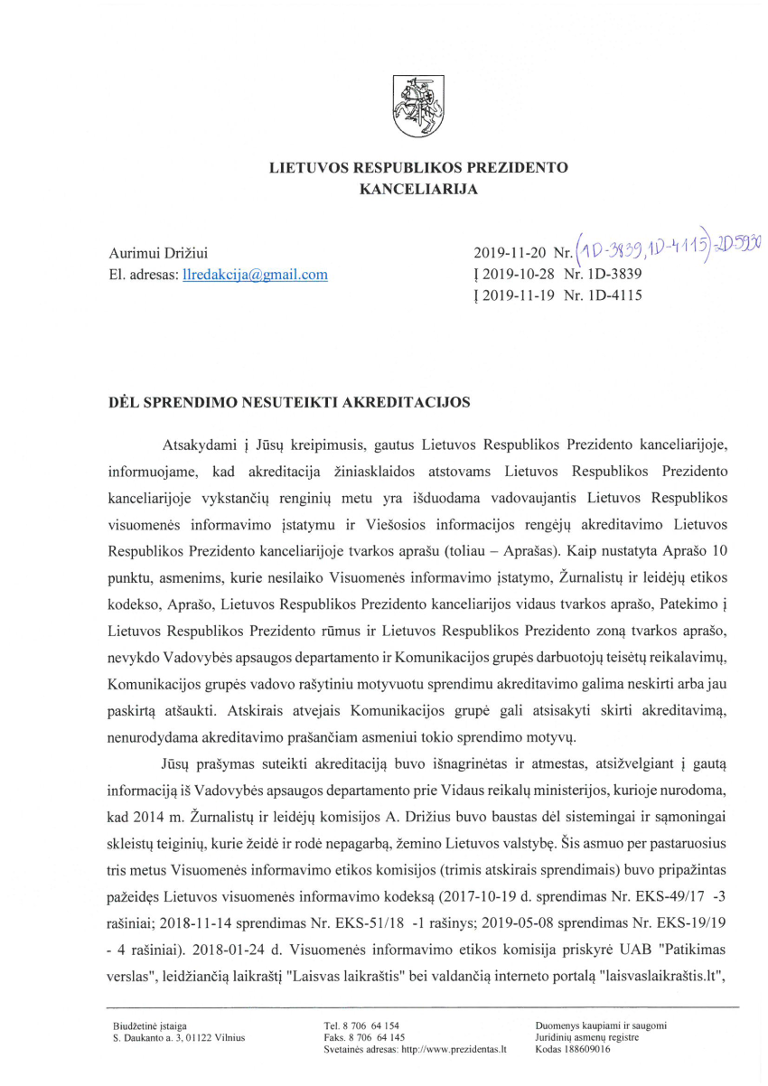 """Prezidentas Gitanas Nausėda : """"Laisvas laikraštis"""" įžeidinėjo ir rodė nepagarbą Lietuvos valstybei"""