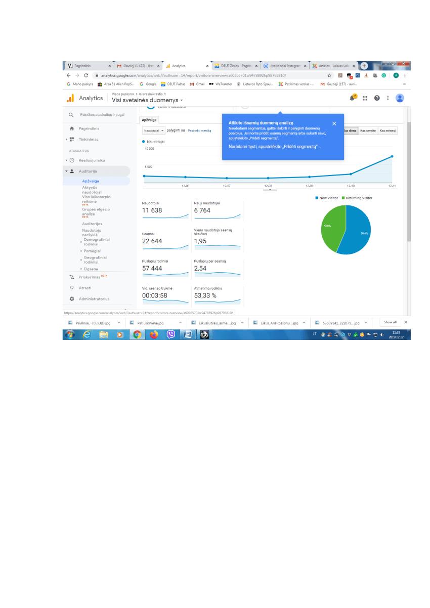 Google analytics : www.laisvaslaikrastis.lt kasdien skaito 11638 naudotojai, jie puslapį atsiverčia 57,4 tūkst. kartų