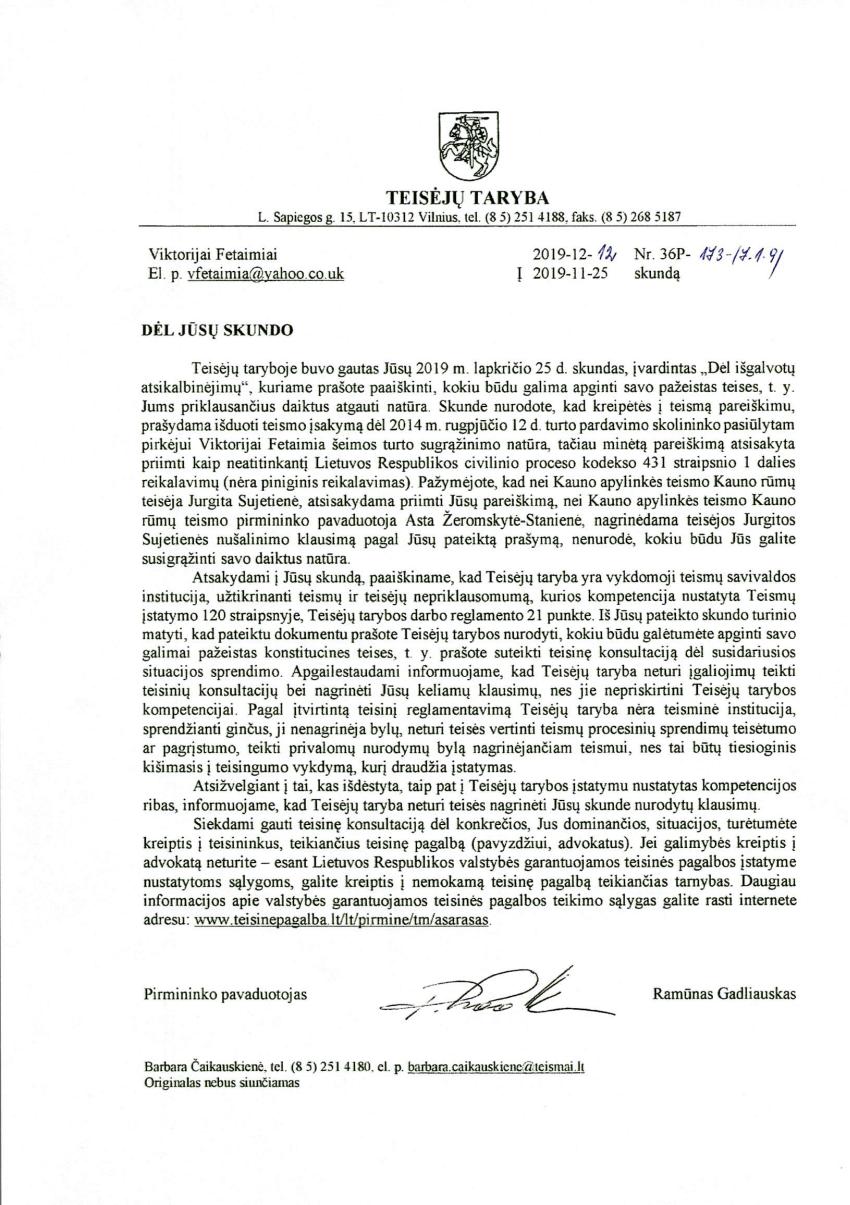"""Prancūzijos pilietė padavė Teisėjų tarybą į teismą : """"Tai amorali institucija"""""""