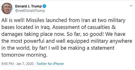 Donaldas Trampas po Irano raketų atakos: Viskas gerai