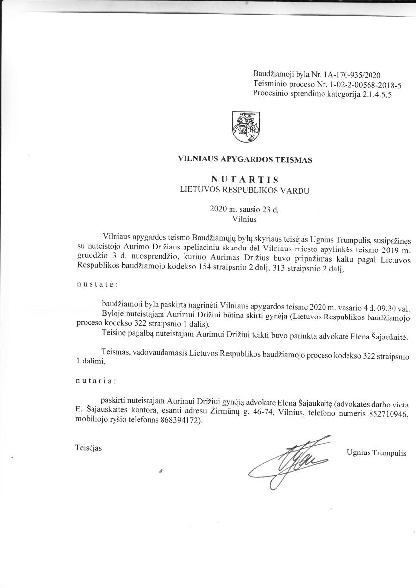 """Už Laimos Stankūnaitės šmeižtą nuteisto """"Laisvo laikraščio"""" redaktoriaus A.Drižiaus skundas bus nagrinėjmas vasario 4 d."""