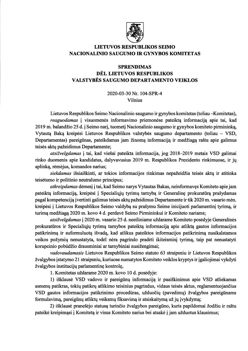 """Seimo """"fiasko"""" – atsisakė tirti 80 tūkst. Lietuvos piliečių sekusio ir """"kontroliavusio"""" VSD veiklą"""