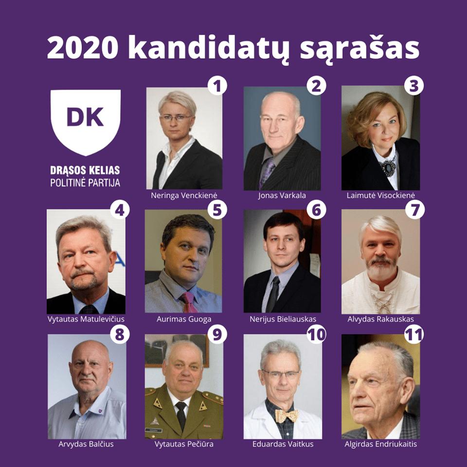 """""""Drąsos kelio"""" kandidatų sąrašas"""