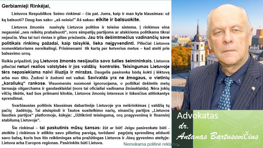 """Antanas Bartusevičius : """"Tai paskutinis šansas"""""""