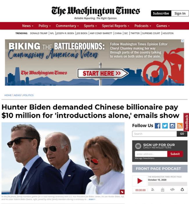 Mūsų sorosofondososinei žiniasklaidai nuožmiai tylint, tęsiame demokratų kandidato Joe Biden'o ir jo sūnaus Hunter'io korupcinių verslo sandorių viešinimą