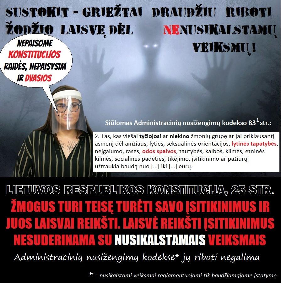 Užsimota riboti Lietuvos piliečiams teisę reikšti savo įsitikinimus bei skleisti informaciją Konstitucijoje nenumatytais NEnusikalstamais pagrindais